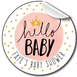Baby Shower Personalised Stickers, Hello Baby Pink