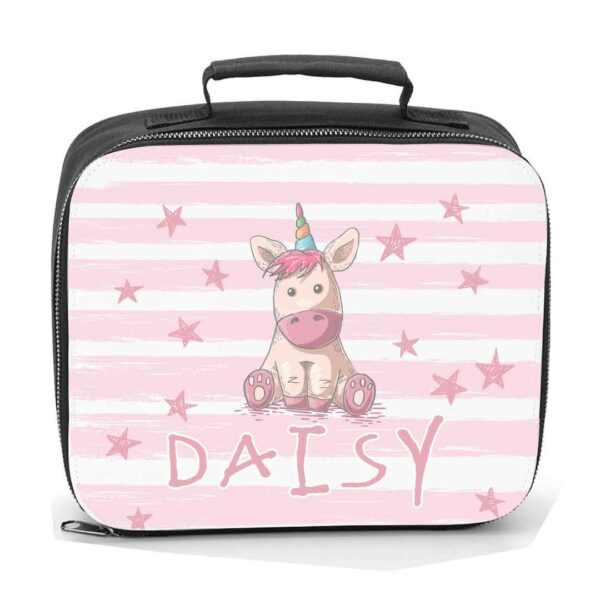 Children's Lunch Cooler Bag.Unicorn and stars design in pink