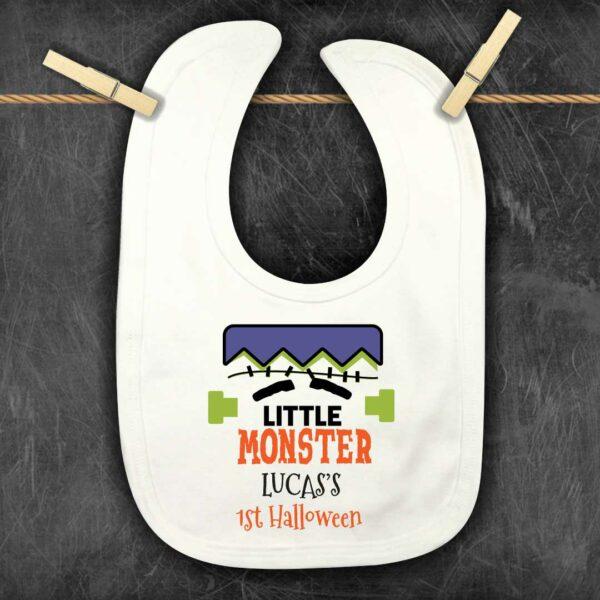 Halloween personalised bib little monster