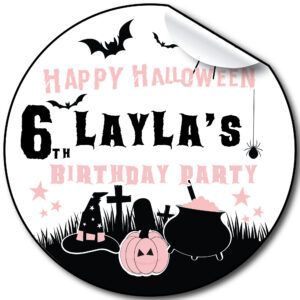 Halloween birthday party stickers personalised