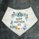 Personalised Halloween Baby Bib Blue Florals